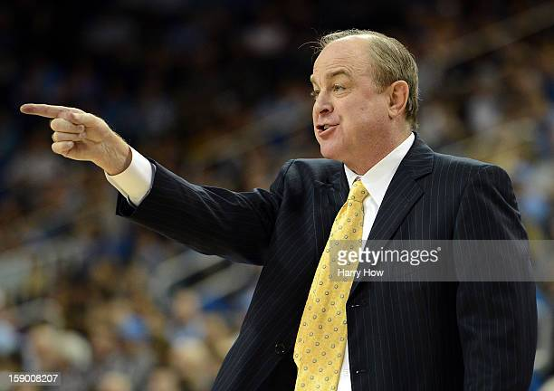 Head coach Ben Howland of the UCLA Bruins calls a play during the game against the Stanford Cardinal at Pauley Pavilion on January 5 2013 in Los...