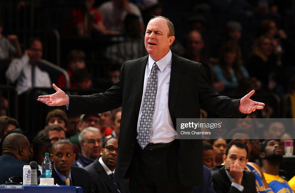 Head coach Ben Howland of the UCLA Bruins reacts in the second half against the St. John's Red Storm at Madison Square Garden on February 18, 2012 in New York City.