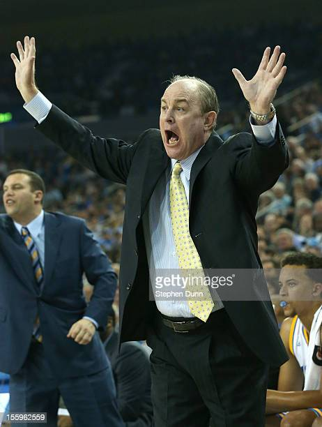 Head coach Ben Howland of the UCLA Bruins shouts during the game with the Indiana State Sycamores at Pauley Pavilion on November 9 2012 in Los...