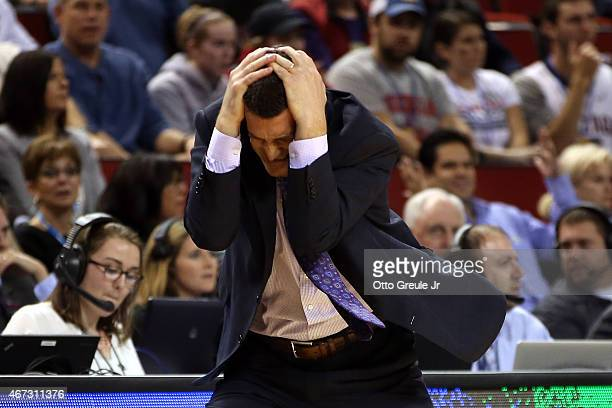 Head coach Ben Jacobson of the Northern Iowa Panthers reacts in the second half of the game against the Louisville Cardinals during the third round...