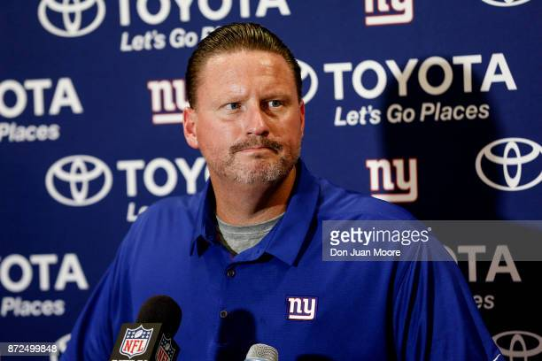 Head Coach Ben McAdoo of the New York Giants addresses the media in his post game press conference after the game against the Tampa Bay Buccaneers at...
