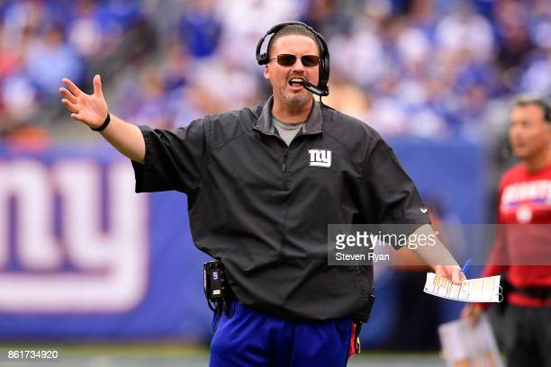 Head coach Ben McAdoo of the New York Giants complains to the official during the fourth quarter against the Los Angeles Chargers during an NFL game...