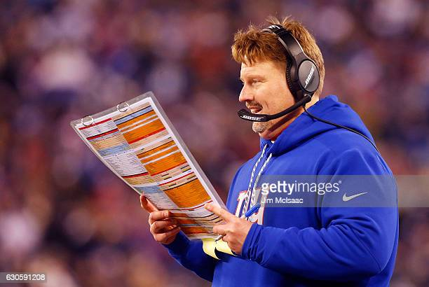 Head coach Ben McAdoo of the New York Giants in action against the Dallas Cowboys on December 11 2016 at MetLife Stadium in East Rutherford New...