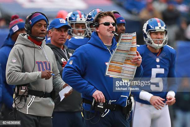 Head coach Ben McAdoo of the New York Giants looks on against the Chicago Bears during the first half at MetLife Stadium on November 20 2016 in East...