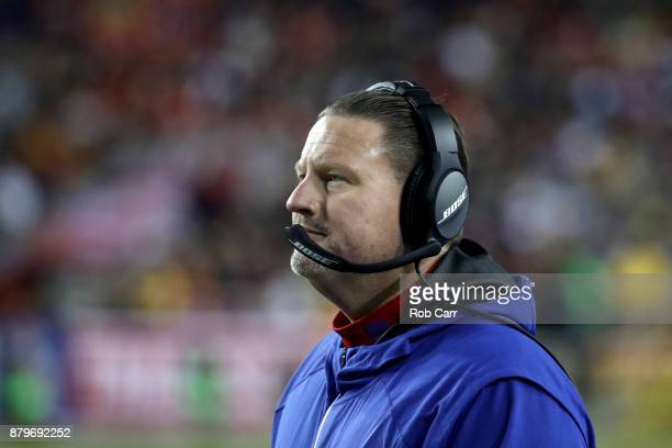 Head coach Ben McAdoo of the New York Giants looks on against the Washington Redskins at FedExField on November 23 2017 in Landover Maryland