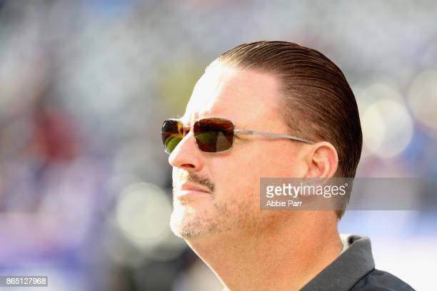 Head coach Ben McAdoo of the New York Giants looks on before the the game against the Seattle Seahawks at MetLife Stadium on October 22 2017 in East...