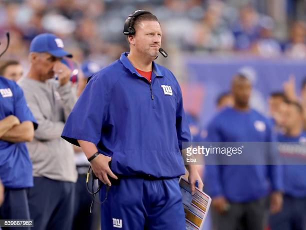 Head coach Ben McAdoo of the New York Giants looks on during the game against the New York Jets during a preseason game on August 26 2017 at MetLife...