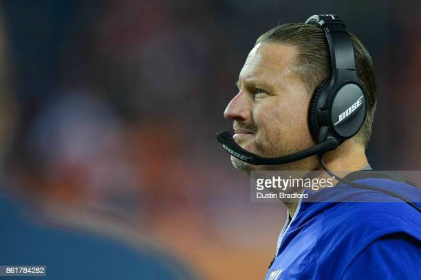 Head coach Ben McAdoo of the New York Giants looks on from the sideline during a game against the Denver Broncos at Sports Authority Field at Mile...