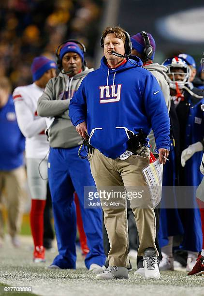 Head Coach Ben McAdoo of the New York Giants looks on from the sidelines in the second half during the game against the Pittsburgh Steelers at Heinz...