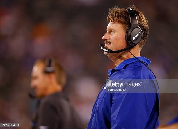 Head coach Ben McAdoo of the New York Giants looks on from the sidelines during the second half against the Miami Dolphins in an NFL preseason game...