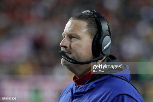 Head coach Ben McAdoo of the New York Giants looks on in the fourth quarter against the Washington Redskins at FedExField on November 23 2017 in...