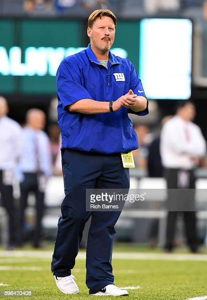 Head coach Ben McAdoo of the New York Giants looks on prior to a preseason game against the New York Jets at MetLife Stadium on August 27 2016 in...
