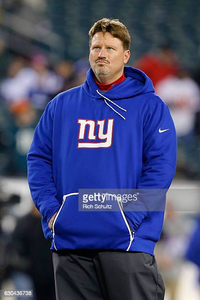 Head coach Ben McAdoo of the New York Giants looks on prior to the game against the Philadelphia Eagles at Lincoln Financial Field on December 22...