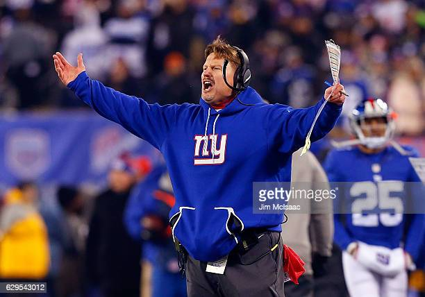 Head coach Ben McAdoo of the New York Giants reacts during a game against the Dallas Cowboys on December 11 2016 at MetLife Stadium in East...