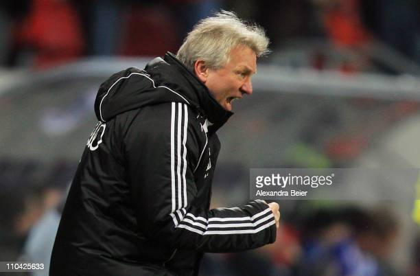 Head coach Benno Moehlmann of Ingolstadt reacts after his team's first goal during the second Bundesliga match between FC Ingolstadt and Hertha BSC...