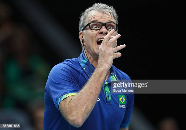 Head coach Bernardo Rezende of Brazil gestures during the men's qualifying volleyball match between the Brazil and Canada on Day 4 of the Rio 2016...