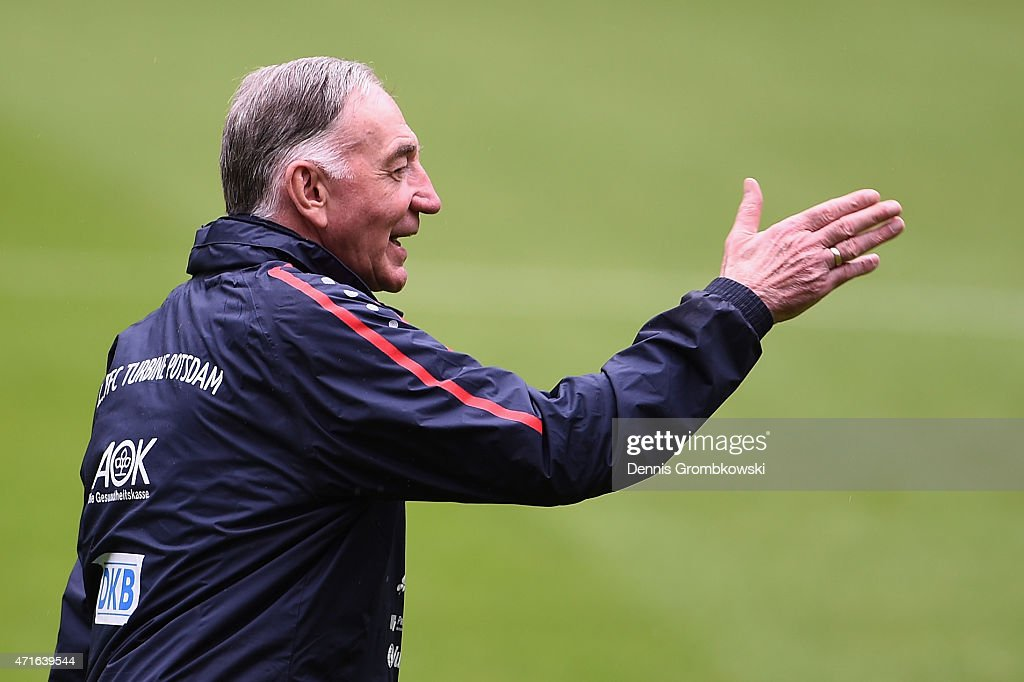 Head coach Bernd Schroeder of 1. FFC Turbine Potsdam reacts during a training session ahead of the Women's DFB Cup Final at RheinEnergieStadion on April 30, 2015 in Cologne, Germany.
