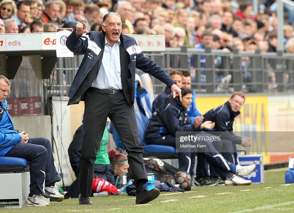 Head coach Bernd Schroeder of Potsdam reacts during the second UEFA Women's Champions League semi final match between Turbine Potsdam and Olympique Lyonnais at Karl Liebknecht stadium on April 22, 2012 in Potsdam, Germany.