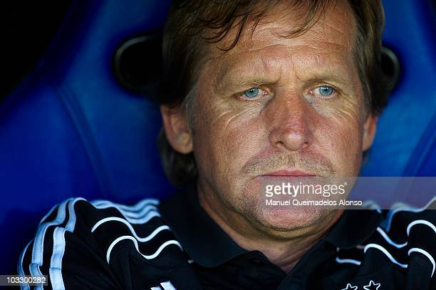 Head coach Bernd Schuster of Besiktas looks on before the Ceramics Trophy match between Villarreal CF and Besiktas at El Madrigal stadium on August 8...