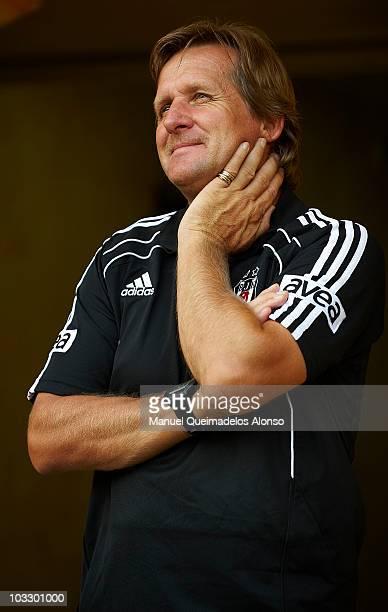 Head coach Bernd Schuster of Besiktas looks on before the Ceramics Trophy match between Villarreal CF and Besiktas at El Madrigal stadium on August 8...