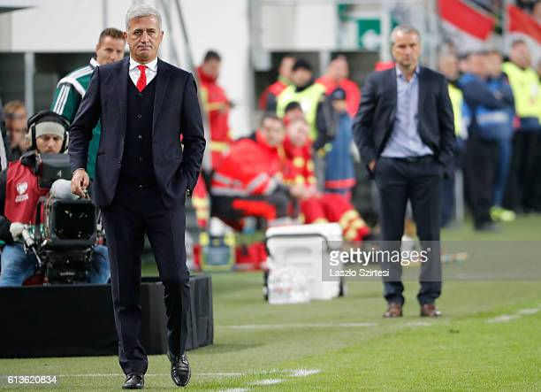 Head coach Bernd Storck of Hungary and head coach Vladimir Petkovic of Switzerland watch the game during the FIFA 2018 World Cup Qualifier match...