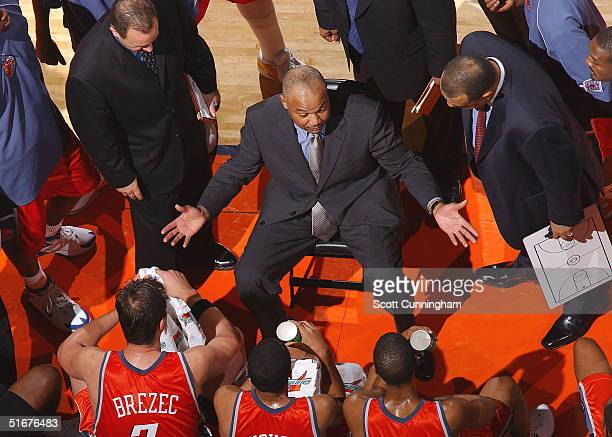 Head Coach Bernie Bickerstaff of the Charlotte Bobcats talks to his team during a timeout against the Washington Wizards in a game on November 4 2004...