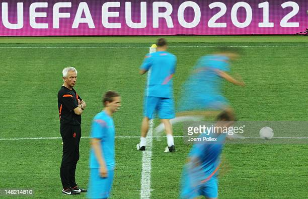 Head coach Bert van Marwijk is seen during a Netherlands training session ahead of their UEFA EURO 2012 Group B match against Germany at Metalist...