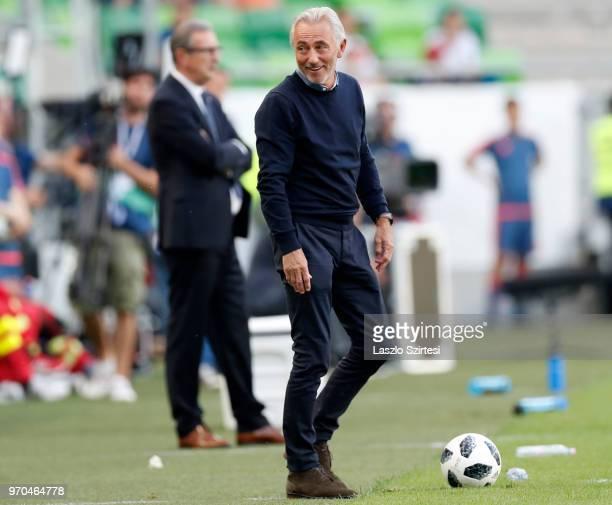Head coach Bert van Marwijk of Australia reacts before head coach Georges Leekens of Hungary during the International Friendly match between Hungary...