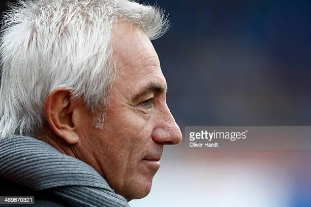 Head coach Bert van Marwijk of Hamburg looks on prior to the Bundesliga match between Eintracht Braunschweig and Hamburger SV at Eintracht Stadion on...