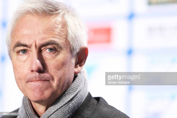 Head coach Bert van Marwijk of Hamburg reacts during a press conference after the Bundesliga match between 1899 Hoffenheim and Hamburger SV at Wirsol...