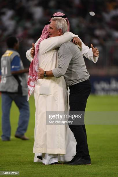 Head coach Bert van Marwijk of Saudi Arabia celebrates his side's 10 victory and qualified for the FIFA World Cup Russia after the FIFA World Cup...