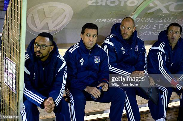 Head coach Besnik Hasi of RSC Anderlecht and ass coach Geert Emmerechts of RSC Anderlecht pictured during the Cofidis Cup 1/16 Final match between...