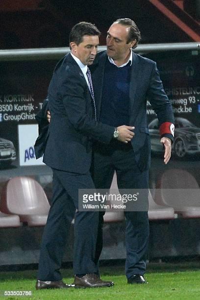 Head coach Besnik Hasi of RSC Anderlecht and head coach Yves Vanderhaeghe of KV Kortrijk pictured during the Jupiler League match between Kv Kortrijk...
