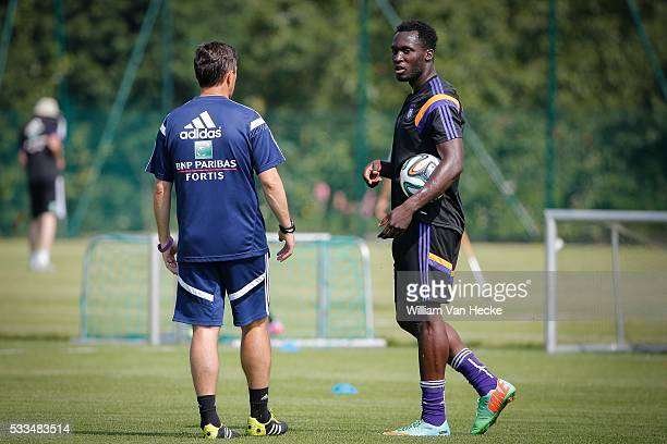 head coach Besnik Hasi of RSC Anderlecht and Romelu Lukaku of Chelsea FC during a RSC Anderlecht training session in the RSC Anderlecht...