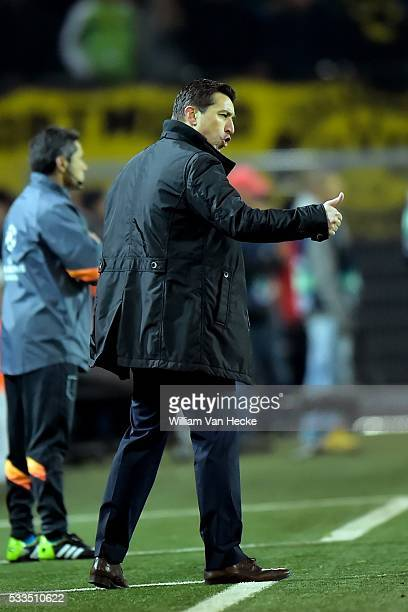 Head coach Besnik Hasi of RSC Anderlecht puts up his thumb during the UEFA Champions League Group D match between Borussia Dortmund and RSC...