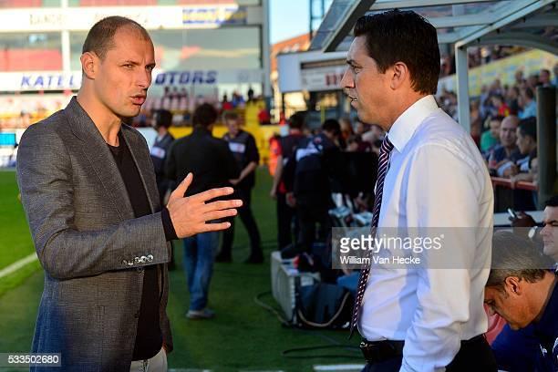Head coach Besnik Hasi of RSC Anderlecht talks to Milan Jovanovic during the Jupiler Pro League match between KV Mechelen and RSC Anderlecht in...