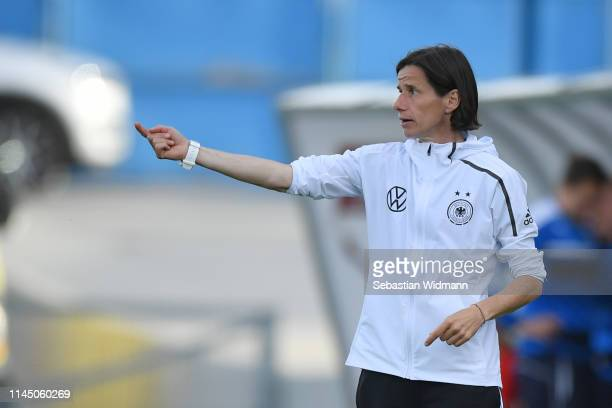 Head coach Bettina Wiegmann of Germany gives her team instructions during the International Friendly match between U15 Girl's Czech Republic and U15...
