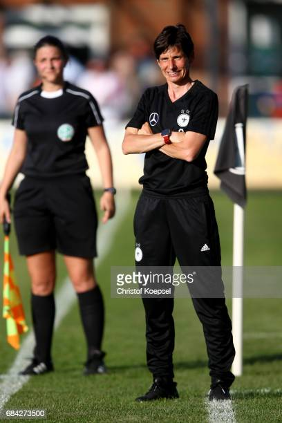 Head coach Bettina Wiegmann of Germany is seen during the U15 girl's international friendly match between Germany and Netherlands at Getraenke...