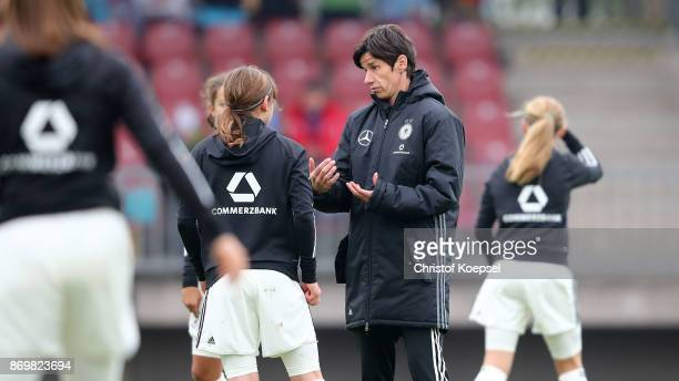 Head coach Bettina Wiegmann of Germany is seen prior to the International Friendly match between Germany U15 Girls and United States U15 Girls at...