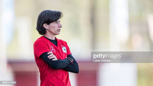 Head Coach Bettina Wiegmann of Germany looks up on the side line during the U15 Girls friendly match between Netherlands and Germany at the Sportpark...