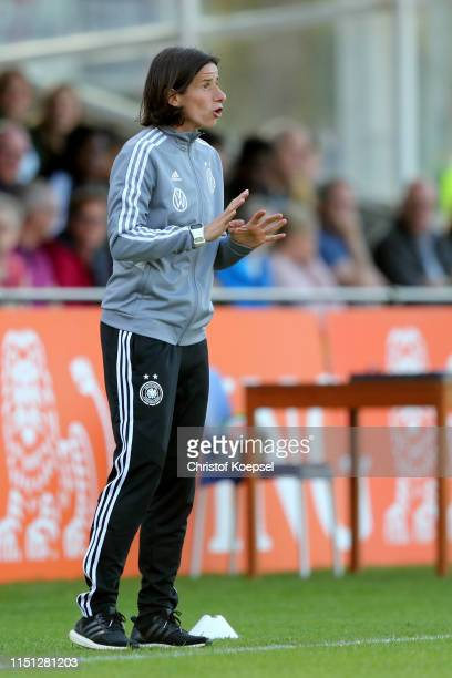 Head coach Bettina Wiegmann of Germany reacts during the International Friendly match between U15 Girl's Netherlands and U15 Girl's Germany at...