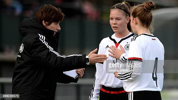 Head coach Bettina Wiegmann of Germany reacts during the U15 girl's international friendly match between Belgium and Germany on November 28 2015 in...