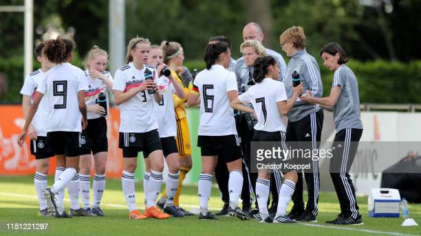 Head coach Bettina Wiegmann of Germany speaks to her team during the International Friendly match between U15 Girl's Netherlands and U15 Girl's...
