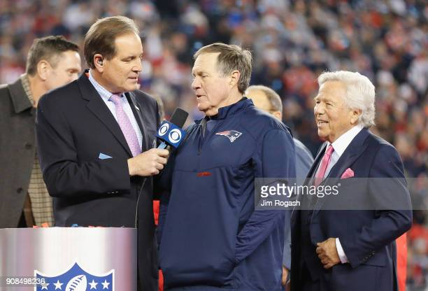Head coach Bill Belichick and owner Robert Kraft of the New England Patriots are interviewed by Jim Nantz after the AFC Championship Game against the...