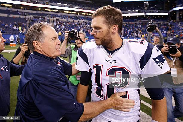 Head coach Bill Belichick and Tom Brady of the New England Patriots congratulate each other after the game against the Indianapolis Colts at Lucas...