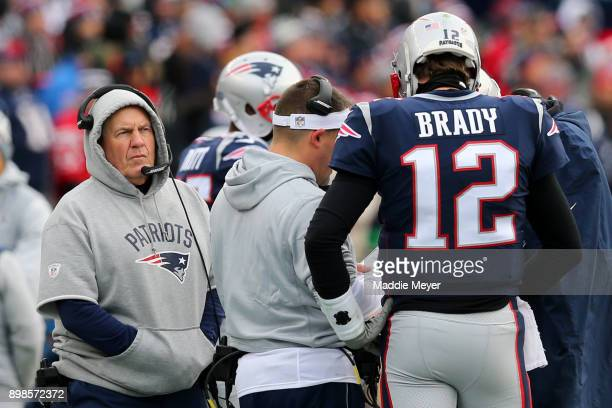Head coach Bill Belichick of the New England Patriots and Tom Brady on the sideline during the first half against the Buffalo Bills at Gillette...