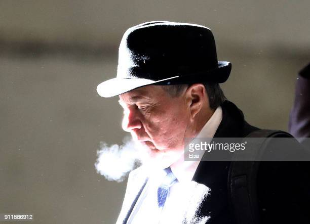 Head coach Bill Belichick of the New England Patriots arrives with his teammates for Super Bowl LII on January 29 2018 at the MinneapolisSt Paul...