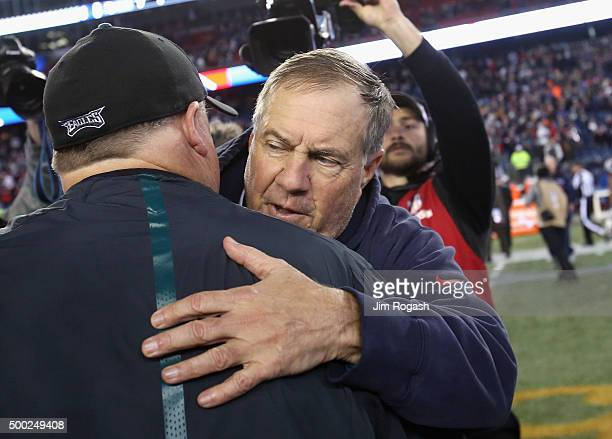 Head coach Bill Belichick of the New England Patriots greets head coach Chip Kelly of the Philadelphia Eagles after their game at Gillette Stadium on...