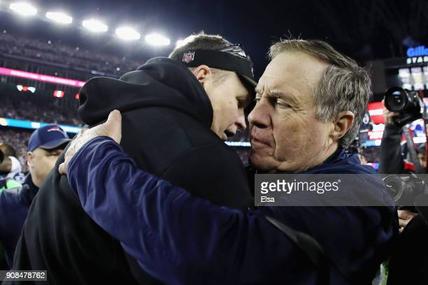 Head coach Bill Belichick of the New England Patriots hugs head coach Doug Marrone of the Jacksonville Jaguars after the AFC Championship Game at...