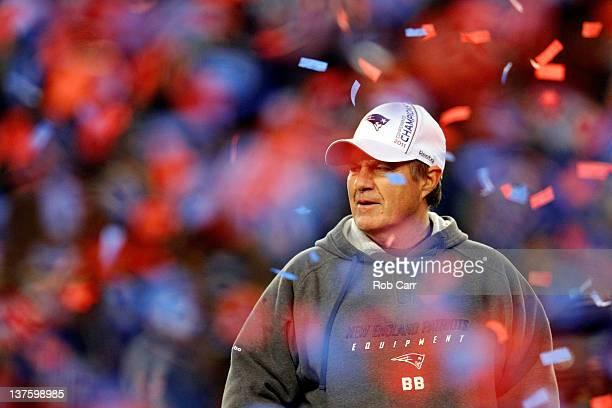 Head coach Bill Belichick of the New England Patriots looks on after defeating the Baltimore Ravens in the AFC Championship Game at Gillette Stadium...